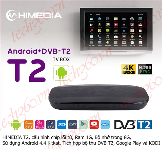 ANDROID TV BOX HIMEDIA T2 DVB-T2